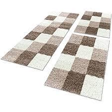 unbekannt shaggy hochflor teppich carpet 3tlg bettumrandung läufer set schlafzimmer flur farbe mocca bettset 2x80x150 1x80x250