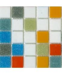 blue gray green yellow orange and white brio mosaic glass tile