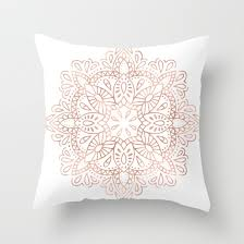 Mandala Rose Gold Pink Shimmer by Nature Magick Throw Pillow by