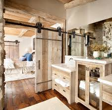 Small Bathroom Rustic Styles Design Ideas Using Wood Panels Sliding Doors With Iron Railing Also Large