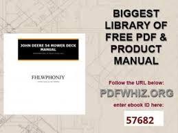 John Deere 48c Mower Deck Manual by John Deere 54 Mower Deck Manual Youtube