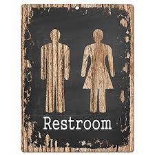 Restroom Chic Sign Rustic Vintage Chalkboard Style Retro Kitchen Bar Pub Coffee Shop Wall Decor 9x12 Metal Plate Home Store Plaques