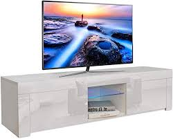 yoleo fernsehschrank weiß hochglanz tv lowboard fernsehtisch tv schrank mit led beleuchtung stehend tv regal 130x35x35 cm