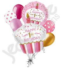 Pink & Gold Cupcake 1st Birthday Girl Balloon Bouquet