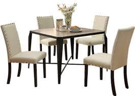 Light Oak Table Top Metal Legs Nailhead Trim Padded Chair 5 Piece Dining