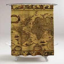 Antique World Map Bathroom Shower Curtain