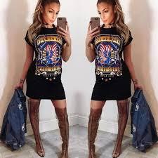 Hot Summer Dress 2017 Ukrainian Women Trendy Fashion Vestidos Eagle Print Short Sleeve Round Neck