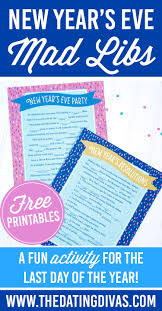Halloween Mad Libs Free by 14 New Year U0027s Eve Party Games And Activities The Paper Blog