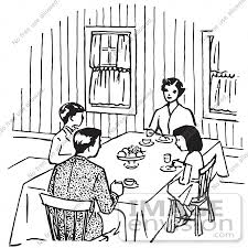 Gorgeous Dining Room Table Clipart Black And White with Dinner