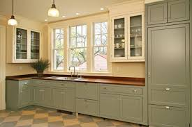 Cottage Style One Wall Kitchen With Green Flat Panel Cabinets