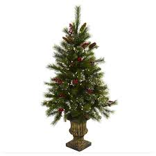 Nearly Natural 4 Ft Potted Pre Lit Artificial Pinecone Christmas Tree