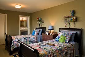 Plaid Comforter Kids Rustic With Bed Spread Dark Wood En Suite Bedroom