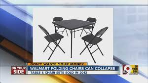 Cosco Folding Chairs And Table by Walmart Recall Card Table And Chairs Youtube