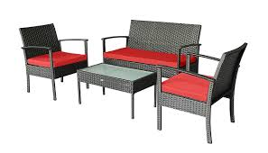 Patio Furniture 4 Pcs Set In Black With Red Cushions(free Outdoor Cover) 3pc Black Rocker Wicker Chair Set With Steel Blue Cushion Buy Stackable 2 Seater Rattan Outdoor Patio Blackgrey Bargainpluscomau Best Choice Products 4pc Garden Fniture Sofa 4piece Chairs Table Garden Fniture Set Lissabon 61 With Protective Cover Blackbrown Temani Amazonia Atlantic 2piece Bradley Synthetic Armchair Light Grey Cushions Msoon In Trendy For Ding Fabric Tasures Folding Chairrattan Chairhigh Back Product Intertional Caravan Barcelona Square Of Six