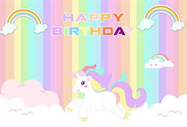 AOFOTO 8x6ft Cute Unicorn Happy Birthday Background Colorful Rainbow Cartoon Cloud Photography Backdrop Party Decor Photo