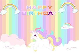 AOFOTO 8x6ft Cute Unicorn Happy Birthday Background Colorful Rainbow Cartoon Cloud Photography Backdrop Party Decor Photo
