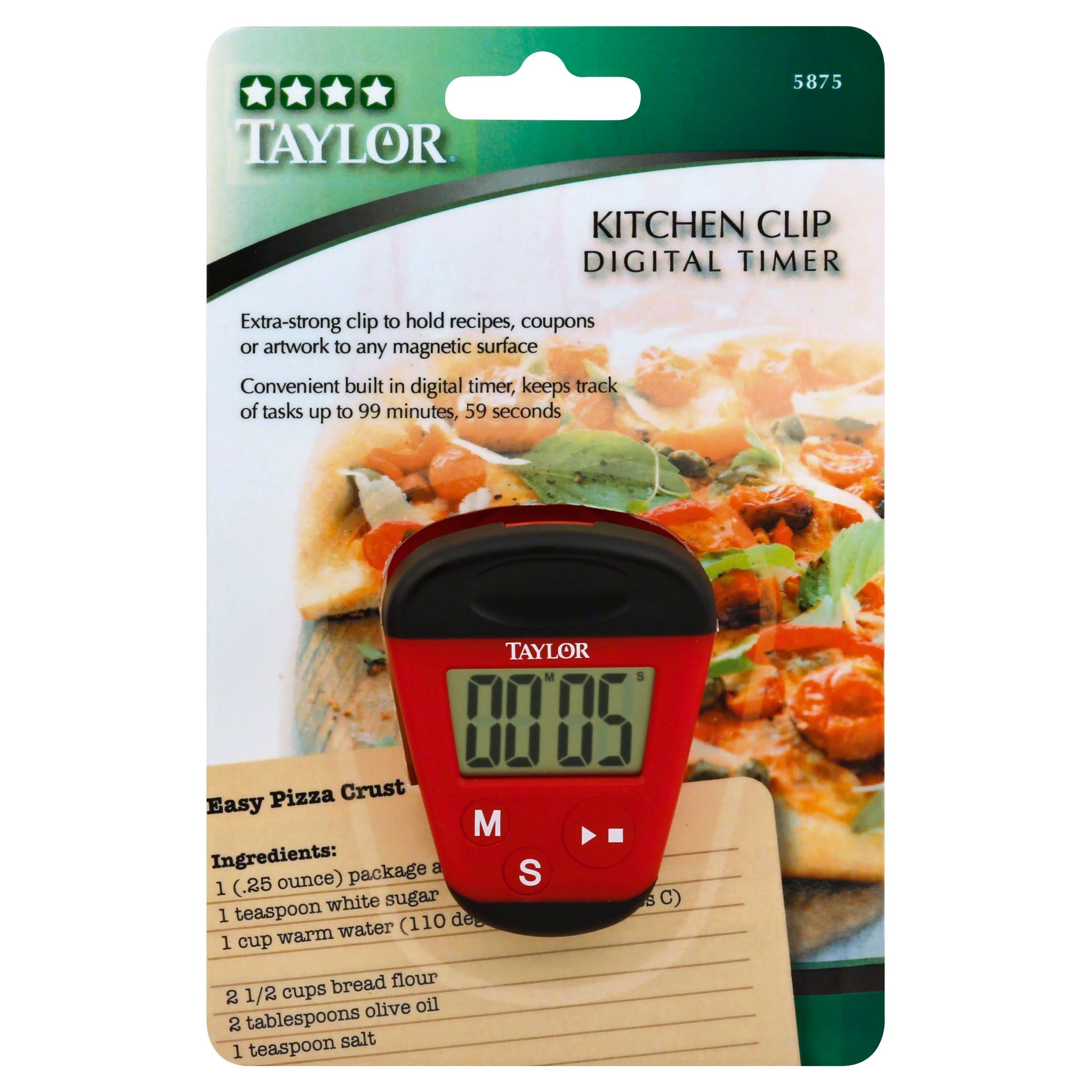 Taylor 5875 Digital Kitchen Clip Timer - Red
