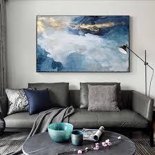 moderne abstrakte gold folie fluss blau leinwand kunst gemälde für wohnzimmer schlafzimmer poster und drucke wand poster wohnkultur