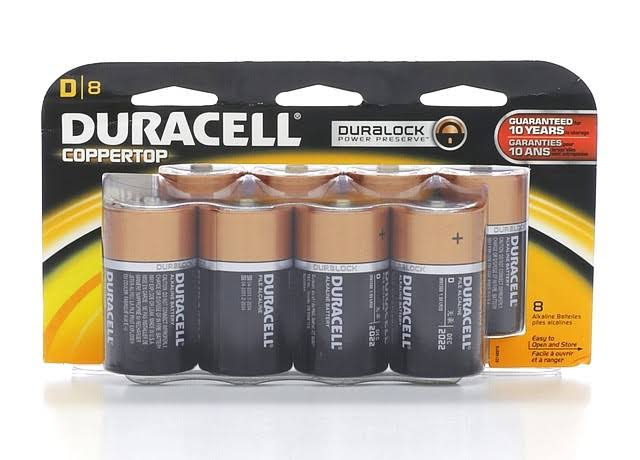 Duracell Coppertop D Alkaline Batteries - 8ct
