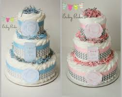 Vintage Pink Rustic Flower Diaper Cake And Grey Chevron