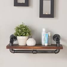 Industrial Walnut Wood Floating Wall Shelf Reviews Birch Lane Shelving