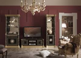 wohnwand mit fernsehtisch venus in schwarz gold barock kp0001
