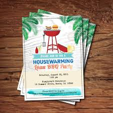 Housewarming BBQ Party Invitation Summer Tropical Luau Bbq