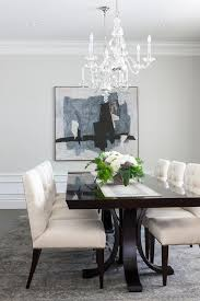 Ivory And Blue Dining Room With Nailhead Chairs