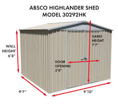 absco highlander 10x10 storage shed za30292hk on sale