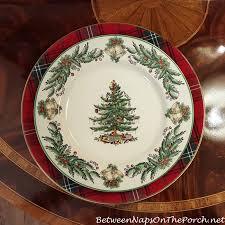 Spode Christmas Tree Mug Cafe Shape by Tartan Chargers For The Holiday Table Christmas Tree Garland