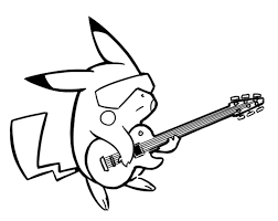 Pikachu Coloring Pages Playing Guitar