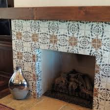 Batchelder Tile Fireplace Surround by Tile Around The Fireplace And Chandelier The Reclaimed Wood