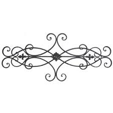Brown Scroll Metal Wall Decor With Floral Center