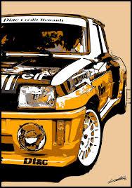 deco voiture de rallye tableau voiture course sport française compétition rallye peinture