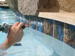 pool tile cleaning process by arizona bead blasting