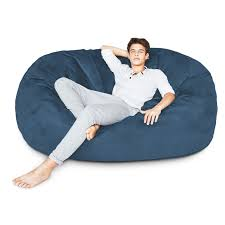 Lumaland Luxury 6-Foot Bean Bag Chair With Microsuede Cover ... Shop Regal In House Bean Bag Chair Navy S Online In Dubai Lifestyle Vinyl Blue Bean Bags Twist Stripes Outdoor Amazoncom Wild Design Lab Elliot Cover 6foot Microfiber And Memory Foam Coastal Lounger Nautical And White Buy Large Comfort Seating Fniture For Classic Fully Comfortable Washable Velvet Can Bean Bags Denim With Piping Ftstool Blue Lounge Pug Denim Adult Beanbags Inflatable Lazy Air Bed Couch Sofa Hangout