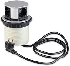 versenkbare steckdose für küche und büro runde einbausteckdose ideal für arbeitsplatte als tischsteckdose oder unterbausteckdose mit 4 fach
