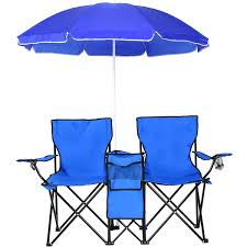 Beach Chair With Canopy, Folding Camping Chairs With Umbrella And Table  Cooler, Portable Double-Chair For Beach, Camping, ...