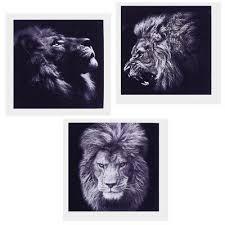 3 stück löwe ölgemälde wandbilder kunstdruck für wohnzimmer