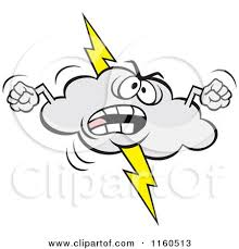 Angry Lightning Storm Cloud Mascot Waving Fists