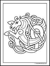 ColorWithFuzzy Celtic Coloring Pages Horse Page