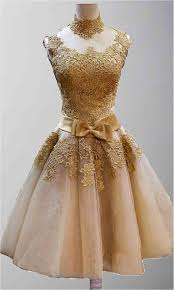 Golden Vintage Princess High Neck Short Prom Dresses KSP320