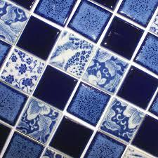 porcelain pool tiles floor blue and white tile square brick mosaics