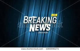 Banner Breaking News Template In Realistic Laptop On Colour Background Concept For Screen Video