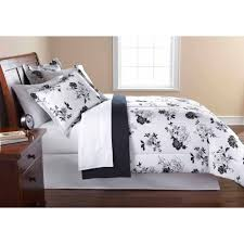 Mainstays Black and White Floral Bed in a Bag forter Set