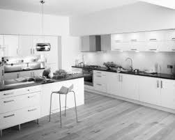 KitchenPerfect Modern White Kitchen With Dark Tile Floor And Small Breakfast Bar Foxy