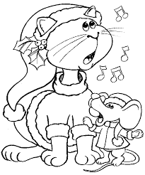 Coloring Page Christmas Cat And Mouse