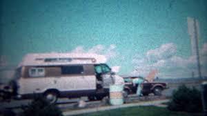 1972 Rest Stop Road Trip Conversion Van Interstate Highway Travel MADISON WISCONSIN Stock Video Footage
