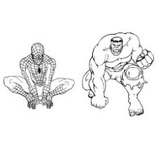 Hulk And Spiderman In One Frame Printable Coloring Page