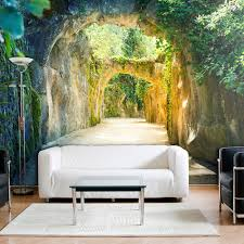 vlies fototapete 3d tunnel grün natur landschaft tapete